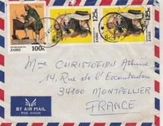 ZAIRE Lettre Avion  1981 Pour Montpellier France - Art Peinture Norman Rochwell - Musique Indépendance US - Zaïre