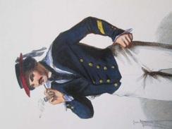 Gravure Fin 19e Siècle Représentant Un SECOND MAITRE EN COSTUME D'ABORDAGE De La Marine Française, Peut être D'époque Na - Boten