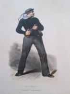 Gravure Fin 19e Siècle Représentant Un MATELOT EN COSTUME D'ABORDAGE De La Marine Française, Peut être D'époque Napoleon - Boten
