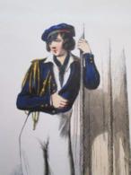 Gravure Fin 19e Siècle Représentant Un ELEVE DE PREMIERE CLASSE De La Marine Française, Peut être D'époque Napoleon III - Boten