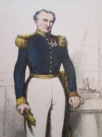 Gravure Fin 19e Siècle Représentant Un Vice-amiral De La Marine Française, Peut être D'époque Napoleon III , Signature P - Bateaux