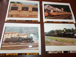 B669  4 Foto Vecchi Treni Locomotive Cm12,5x10 - Fotografia
