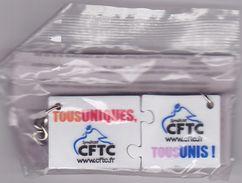 Série De 2 Porte-clefs Publicitaires - Syndicat CFTC, Tour De France 2008 - Sleutelhangers