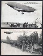 """MEUDON: Magnifique Lot De 2 Cartes Sur Le Dirigeable """"République"""" Avant Sa Destruction Le 25/09/1909 - Meudon"""