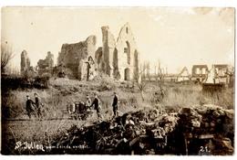 MILITARIA .BELGIQUE. FLANDRE OCCIDENTALE.SAINT-JULIEN -lez-YPRES.CARTE PHOTO ALLEMANDE. EGLISE DETRUITE. - Guerra 1914-18