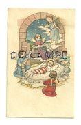 Image Pieuse.  Enfant Jésus Dans La Crèche. Ribambelle D'Anges, Guirlande De Fleurs, Lyre. 5/9 Cm - Devotieprenten