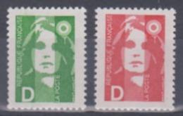 Année 1991 - N° 2711 Et 2712 - Marianne Du Bicentenaire - Changement De Tarif - Lettre D - 2 Valeurs - 1989-96 Bicentenial Marianne