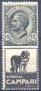 1924-25 PUBBLICITARIO CORDIAL CAMPARI CENT. 15 N.3 NUOVO* - MLH VERY FINE - Pubblicitari