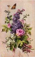 BELLE FANTAISIE ,LILAS,ROSES,PAPILLONS   REF 53452 - Fiori