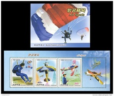 North Korea 2016 Mih. 6337/39(?) Air Sports. Aviation. Planes. Helicopters (booklet) MNH ** - Korea, North