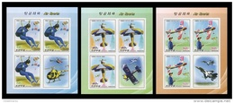 North Korea 2016 Mih. 6337B/39B(?) Air Sports. Aviation. Planes. Helicopters (3 M/S) (imperf) MNH ** - Korea, North