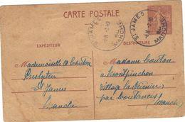 Entier Carte Postale Semeuse Lignée 1fr20 Imprimée à Rennes En 1944 . Oblitérée St James 1° Octobre 1944. - Standard- Und TSC-AK (vor 1995)