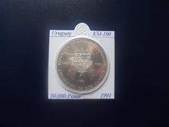URUGUIAY 1991, 50.000 PESOS, KM-100, SILVER, PROOF-SC - Uruguay
