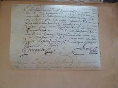 Reçu Sur Velin De G.Lamy . Autographié Par Pinault  Sieur De Bonnefont Valet De Chambre De Louis XIV 22/03/1648 - Documentos Históricos