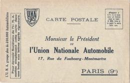 Carte Réponse Union Nationale Automobile - TTB - Passenger Cars