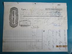 Facture & Traite 1900  Manufacture De Lits En Fer  LAURENT FRERES  14 Quai Pierre Scize  à LYON - France