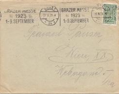 ÖSTERREICH Brief 1923 - 400 Kronen Auf Brief Gel.v. Graz N. Wien - Cartas