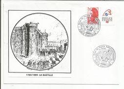 OBLITERATION BICENTENAIRE REVOLUTION TOUR DE PARIS REVOLUTIONNAIRE PARIS BASTILLE 1989 - Commemorative Postmarks