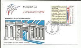 OBLITERATION BICENTENAIRE REVOLUTION VOTE DE LA LOI INSTITUANT LES MUNICIPALITES BORDEAUX 1989 - Commemorative Postmarks