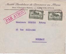 France / Maroc -  1932 SOCIETE BORDELAISE DE COMMERCE AU MAROC CASABLANCA RUE CHARLES SAINT - PAR AVION - Briefe U. Dokumente