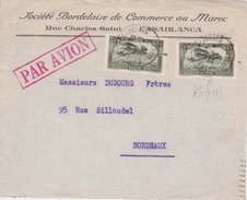 France / Maroc -  1932 SOCIETE BORDELAISE DE COMMERCE AU MAROC CASABLANCA RUE CHARLES SAINT - PAR AVION - Marokko (1891-1956)