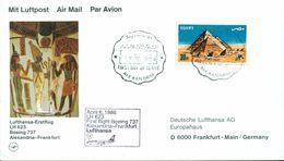 Erste Flüge-Primi Voli-First Flights--marcofilia-primeros Vuelos-ALEXANDRIA-FRANKFURT-LUFTHANSA - Posta Aerea