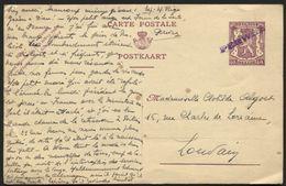 Entier CP 40c Annulé Griffe Fortune Violette PERWEZ Vers Louvain Le 4/8/40 - WW II