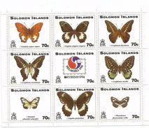 1994 Solomon Islands Butterflies Miniature Sheet Of 9  Complete MNH - Schmetterlinge