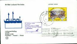 Erste Flüge-Primi Voli-First Flights--marcofilia-primeros Vuelos-FRANKFURT-KUWAIT-DUBAI-LUFTHANSA - Kuwait
