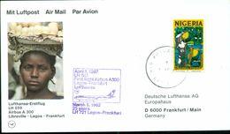 Erste Flüge-Primi Voli-First Flights--marcofilia-primeros Vuelos-LAGOS-FRANKFURT-LUFTHANSA - Nigeria (1961-...)