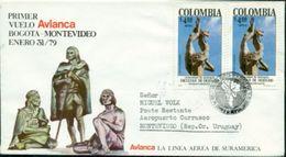 Erste Flüge-Primi Voli-First Flights--marcofilia-primeros Vuelos-BOGOTA-MPONTEVIDEO-AVIANCA - Colombia