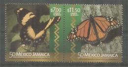 Papillon Grand Porte-queue (giant Swallowtail) & Monarque. FDC Officiel Mexico 2016 (emission Conjointe Mexico-Jamaica) - Butterflies