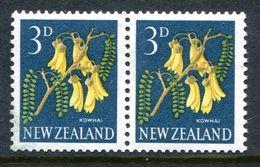 New Zealand 1960-66 Pictorials - 3d Kowhai - P.14½ X 13 - Coil Pair LHM (SG 785e) - Nuovi