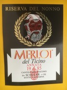 5019 - Riserva Del Nonno Merot Del Ticino 1985 Suisse - Etiquettes