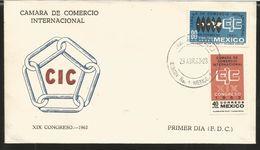 J) 1963 MEXICO, CHAMBER OF INTERNATIONAL TRADE, XIX CONGRESS, POLYCONIC MAP, CONGRESS EMBLEM, SET OF 4 FDC - Mexico