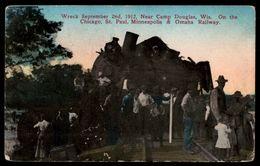 Train Wreck Sept 2 1912 Near Camp Douglas Wi Chicago St Paul Minn & Omaha Railway   --  -ref 2682 - Trenes