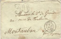 1855- Enveloppe D'AUTEUIL  ( Paris )  Cad T15  Taxe Dt 30  Pour Montauban - 1849-1876: Klassieke Periode
