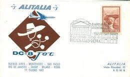 Erste Flüge-Primi Voli-First Flights--marcofilia-primeros Vuelos- BUENOS AIRES-MONTEVIDEO-RIO-DAKAR-MILANO-ROMA-ALITALIA - Argentina