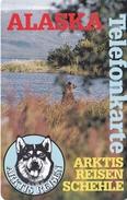 TARJETAS DE ALASKA DE UN OSO Y UN PERRO MALAMUTE DE JUNIO 1996 DE $10 Y TIRADA 500 (NUEVA-MINT) BEAR-DOG-CAN - Schede Telefoniche