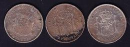 ESPAGNE, 1 PIECE D ALFONSO XII ET 2 D ALFONSO XIII, SILVER.  (7P25 ) - Monnaies Provinciales