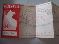 LIMA – CHALA. HOJA DE RUTA. PERÚ, 1951. TACP. TOURING Y AUTOMOVIL CLUB DEL PERÚ. CRUSH ADVERTISING. - Cartes