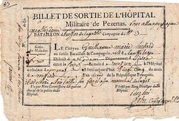 25 Messidor An 2 -HÔPITAL MILITAIRE De PEZENAS (34) - 14° Bataillon De HUSSARDS DE L'ÉGALITÉ Cie N° 3 - BILLET DE SORTIE - Documents Historiques