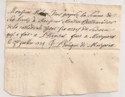 1734 MANDEMENT DE 6 LIVRES DE EVEQUE DE MIREPOIX JEAN FRANCOIS BOYER (AUTOGRAPHE) A HEBDOMADIER MONDIN / HOPITAL  AR8 - Documents Historiques
