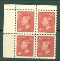Canada: 1949/51   KGVI (inscr. 'Postes Postage')    SG417     4c   Carmine-lake    MNH Block Of 4 - 1937-1952 Règne De George VI
