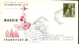 Erste Flüge-Primi Voli-First Flights--marcofilia-primeros Vuelos- MADRID-FRANKFURT-DUSSELDORF-LUFTHANSA - Spagna