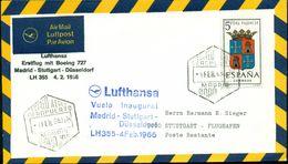 Erste Flüge-Primi Voli-First Flights--marcofilia-primeros Vuelos- MADRID-STUTTGSRT-DUSSELDORF-LUFTHANSA - Spagna