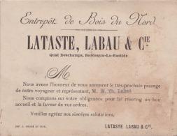 H4- 33) BORDEAUX - LATASTE , LABAU & Cie - ENTREPOT DE BOIS DU NORD - QUAI DESCHAMPS , BORDEAUX LA BASTIDE - Bordeaux