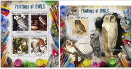 MALDIVES 2017 ** Owls Eulen Hiboux Paintings M/S+S/S - OFFICIAL ISSUE - DH1731 - Eulenvögel