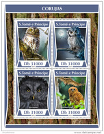 SAO TOME 2017 ** Owls Eulen Hiboux M/S - OFFICIAL ISSUE - DH1731 - Owls