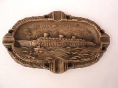 Ancien Cendrier Bronze Paquebot Normandie Compagnie Générale Transatlantique - Boats